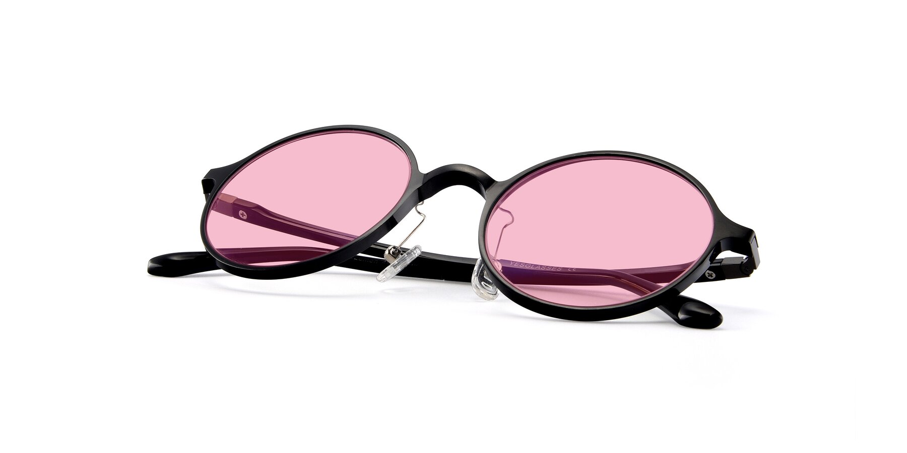 View of Lemon in Black with Medium Pink Tinted Lenses