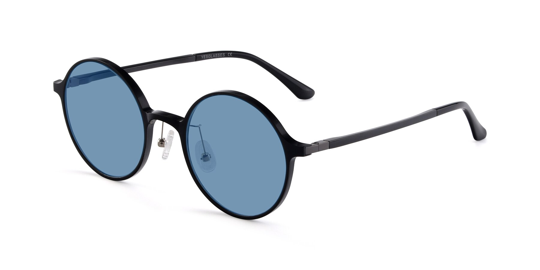Angle of Lemon in Black with Medium Blue Tinted Lenses