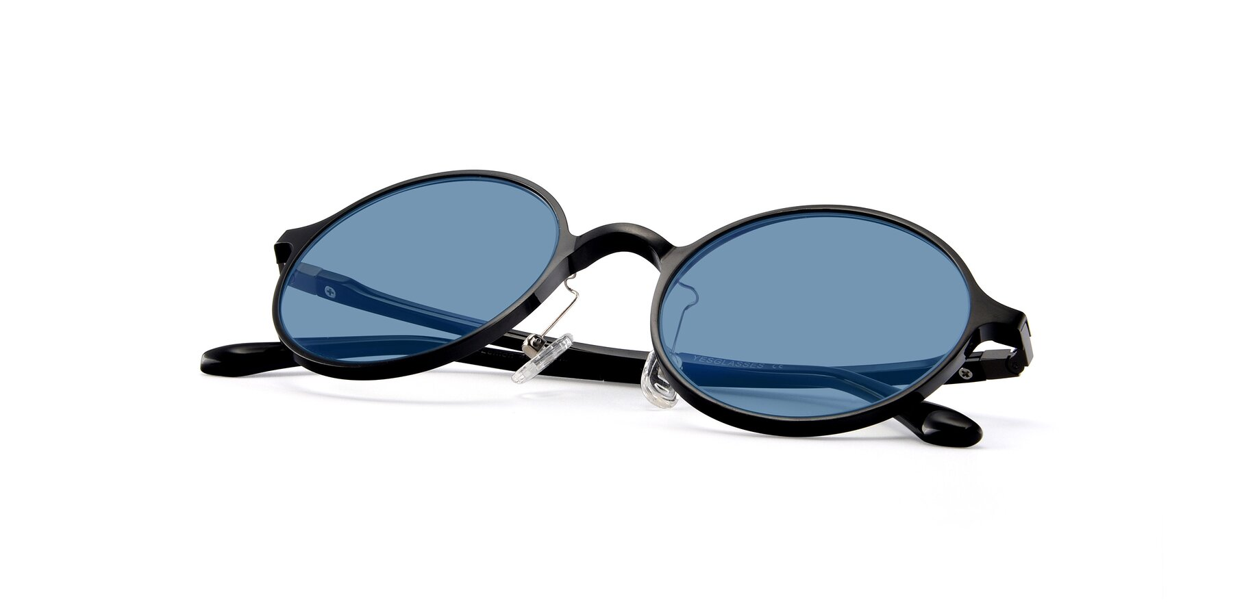 View of Lemon in Black with Medium Blue Tinted Lenses