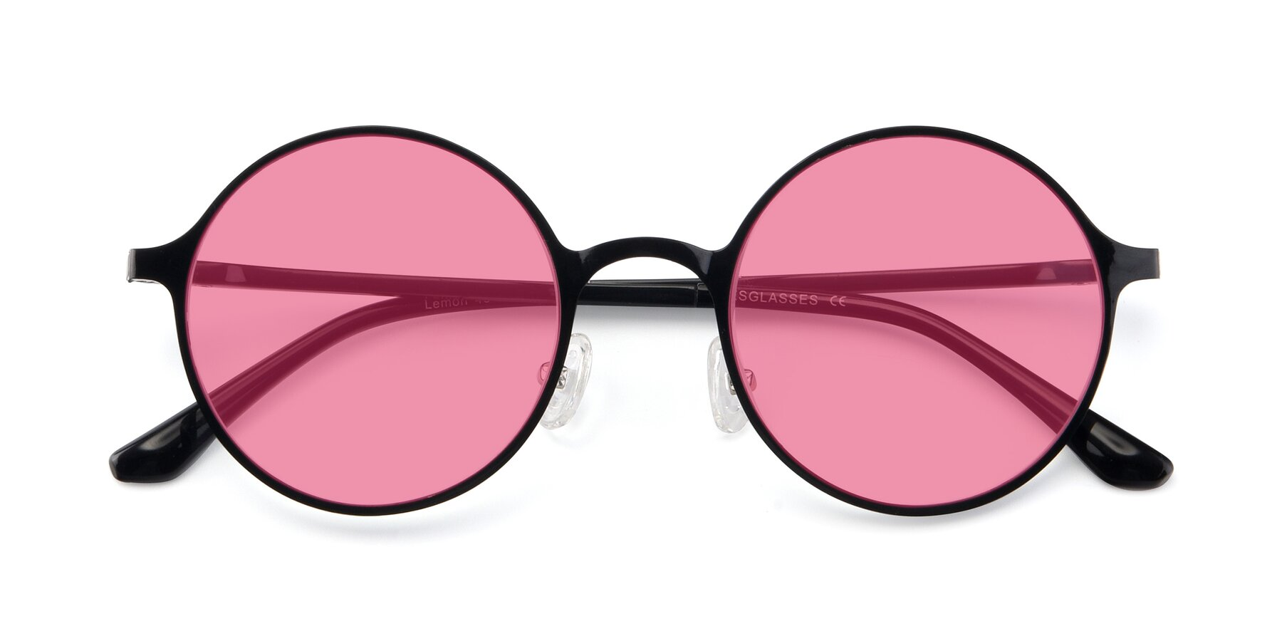 Folded Front of Lemon in Black with Pink Tinted Lenses