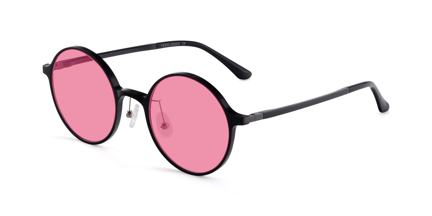 Angle of Lemon in Black with Pink Tinted Lenses