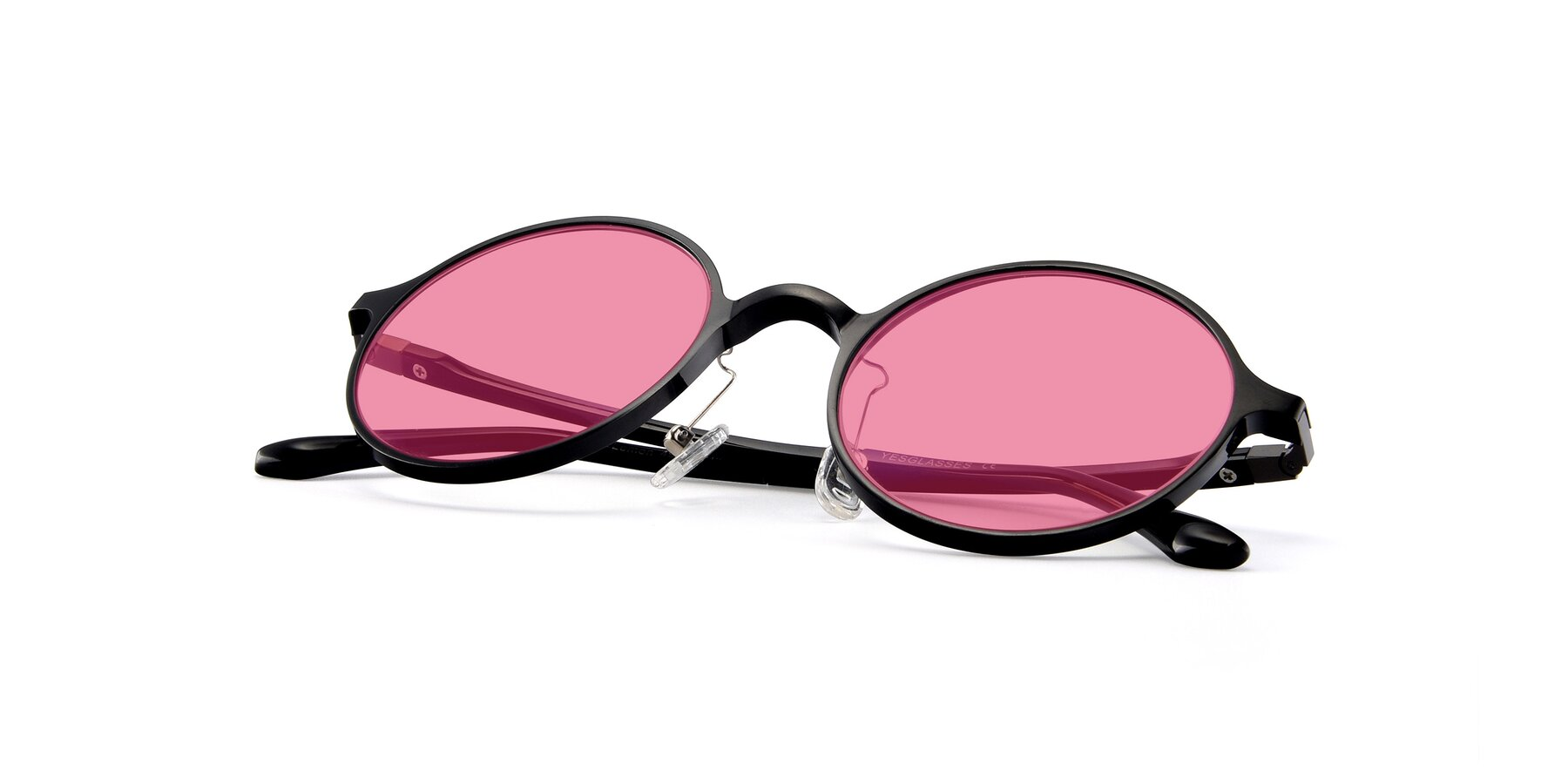 View of Lemon in Black with Pink Tinted Lenses