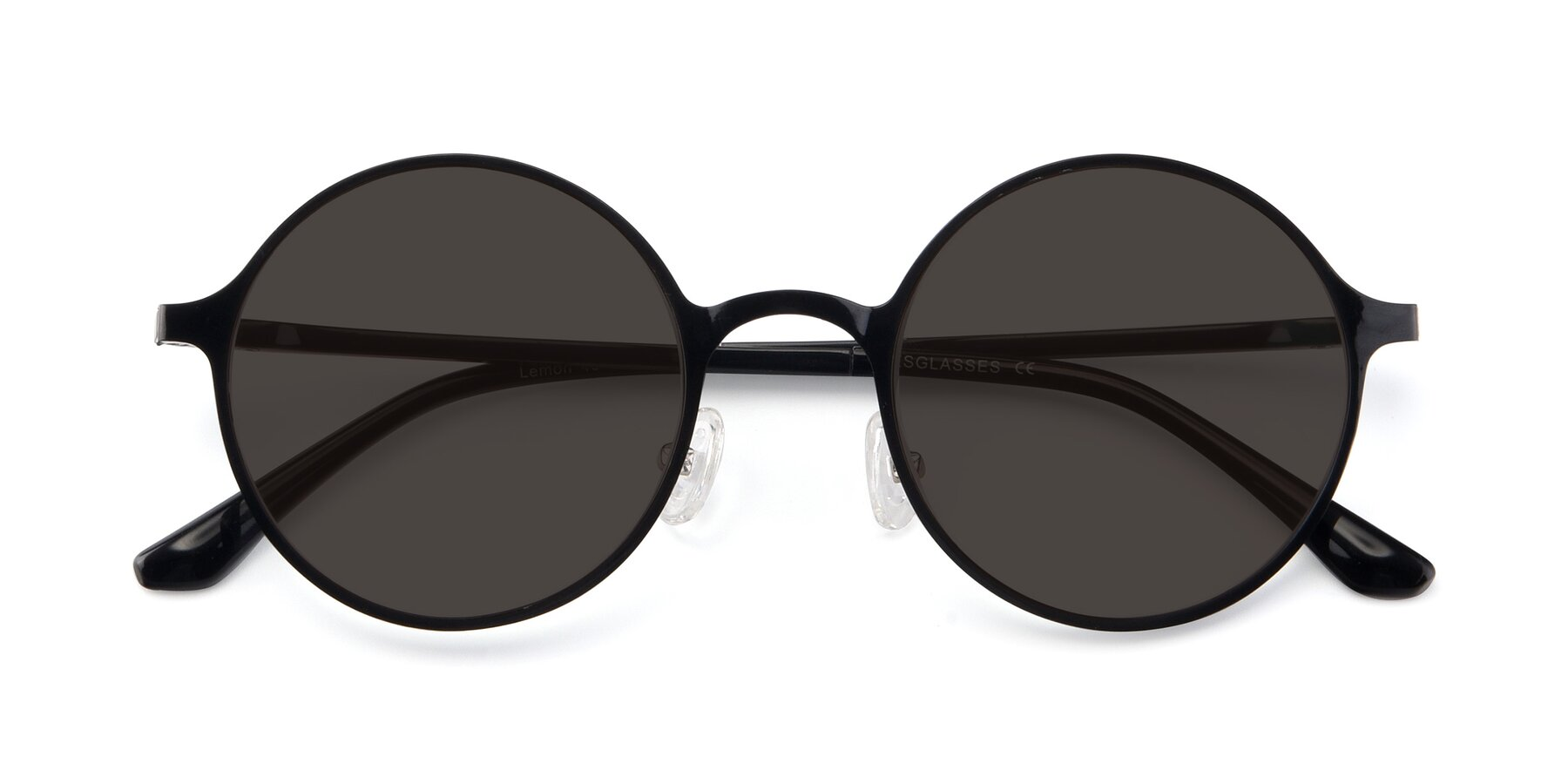 Folded Front of Lemon in Black with Gray Tinted Lenses