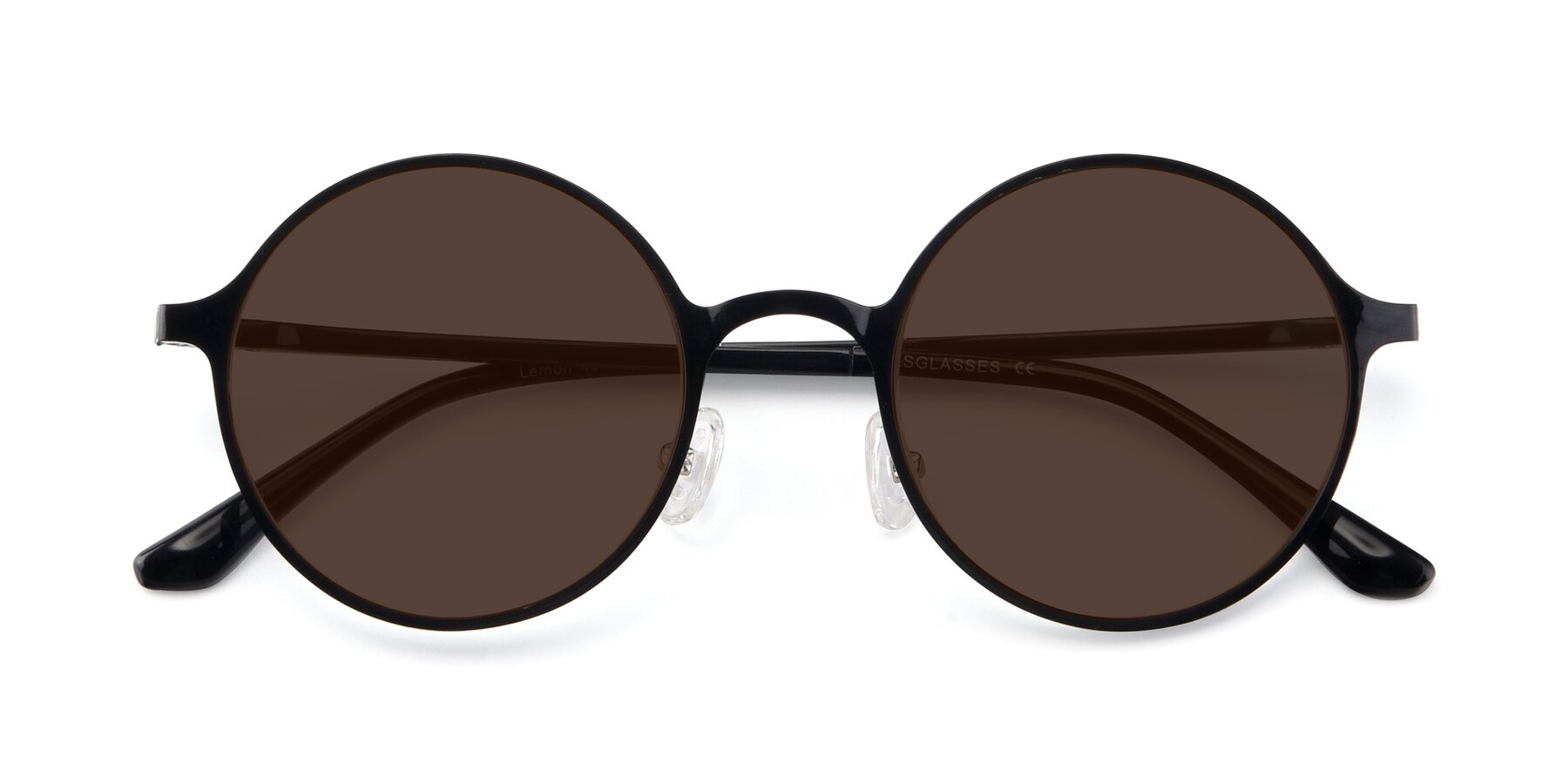 Folded Front of Lemon in Black with Brown Tinted Lenses
