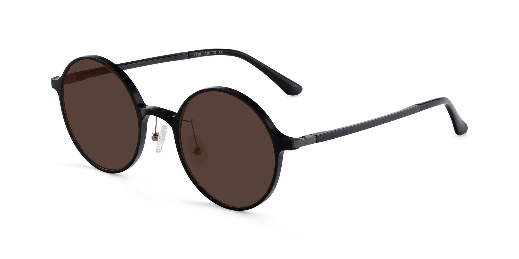 Angle of Lemon in Black with Brown Tinted Lenses