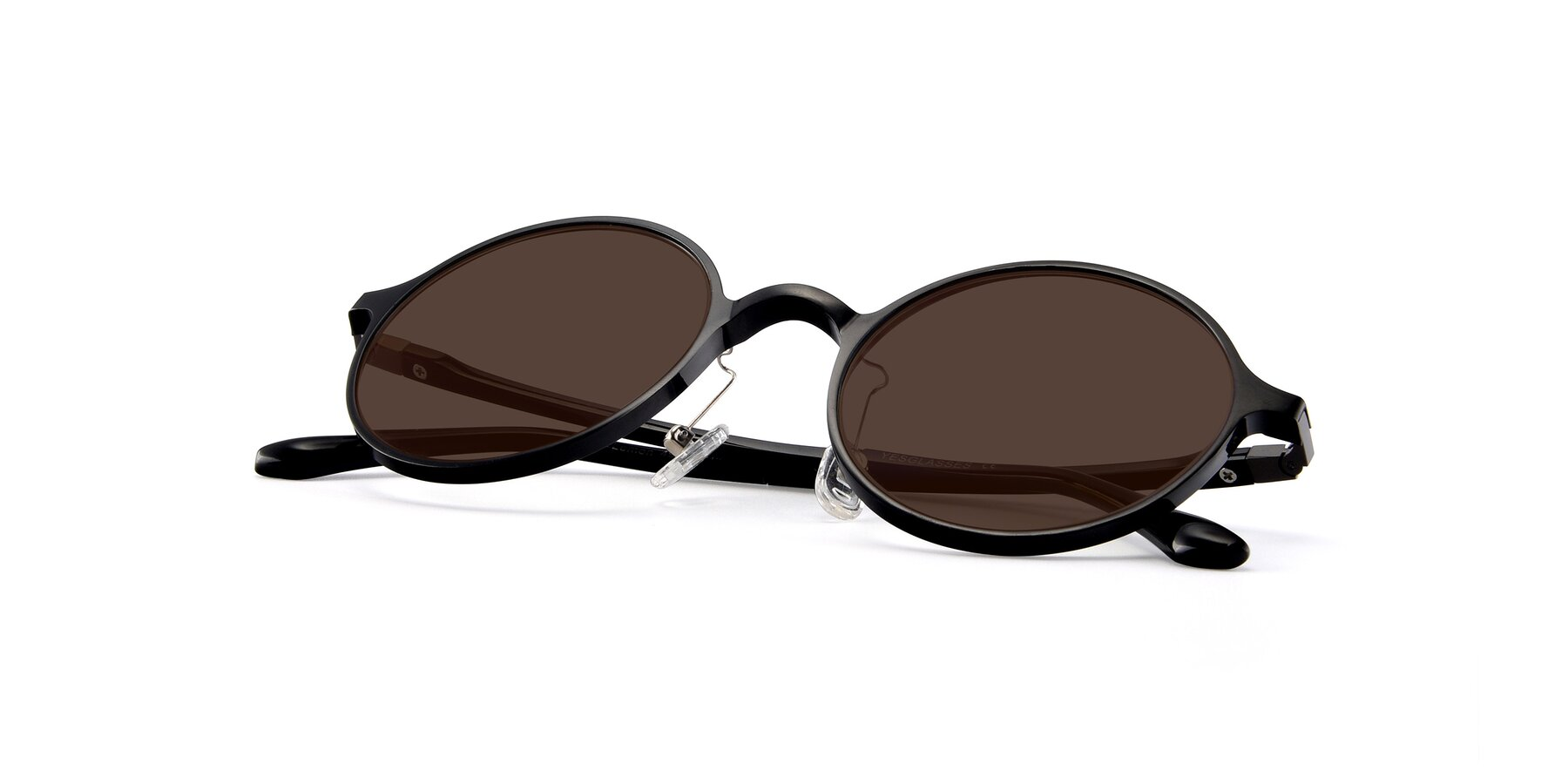 View of Lemon in Black with Brown Tinted Lenses