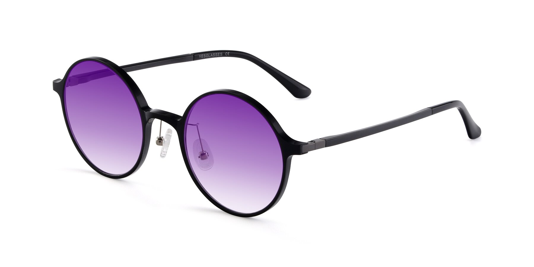 Angle of Lemon in Black with Purple Gradient Lenses