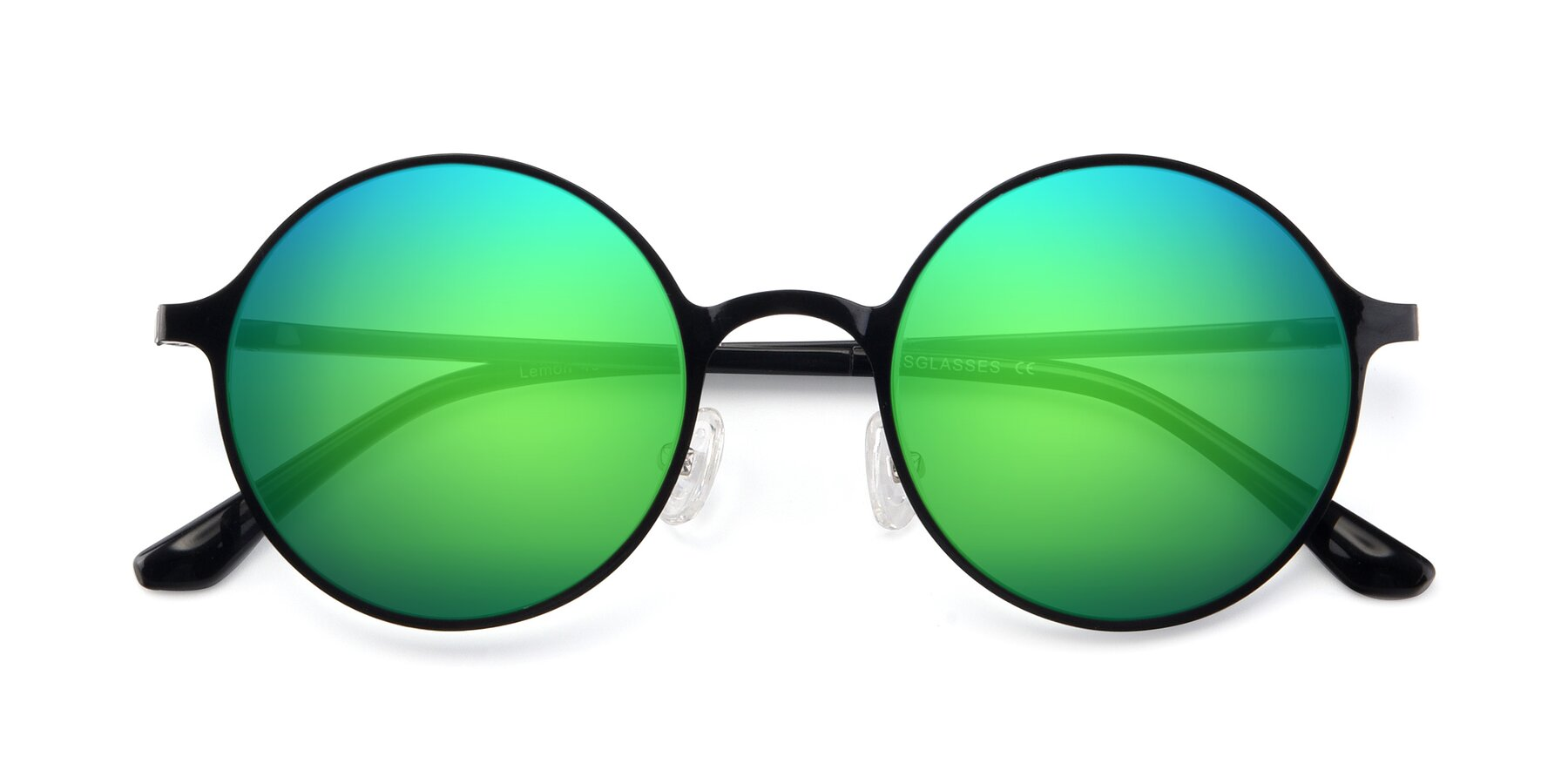 Folded Front of Lemon in Black with Green Mirrored Lenses