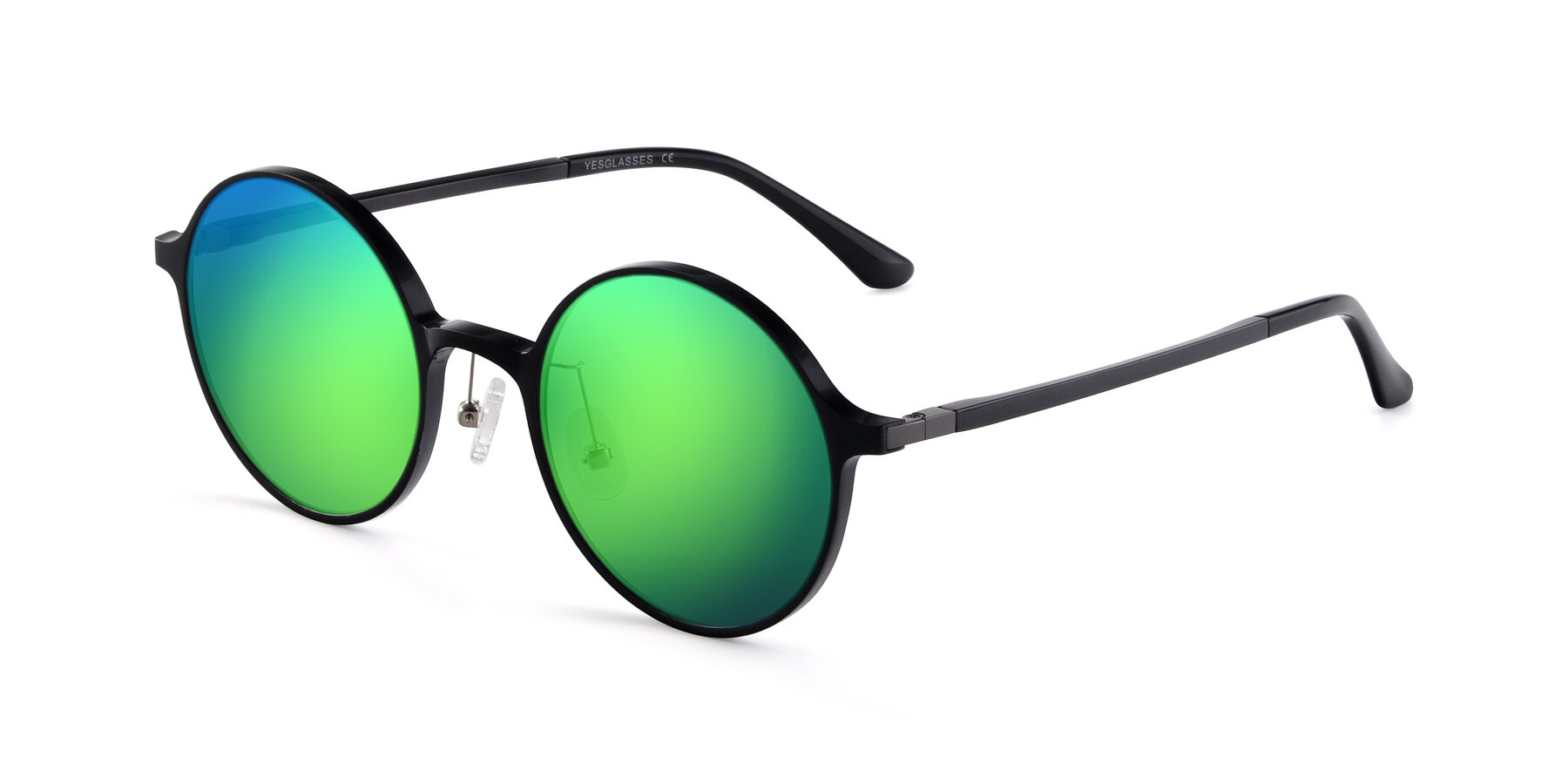 Angle of Lemon in Black with Green Mirrored Lenses