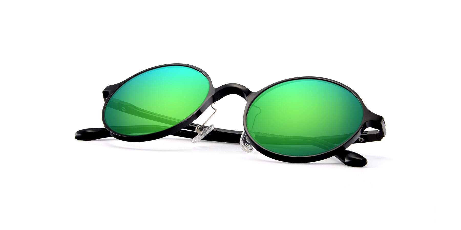 View of Lemon in Black with Green Mirrored Lenses