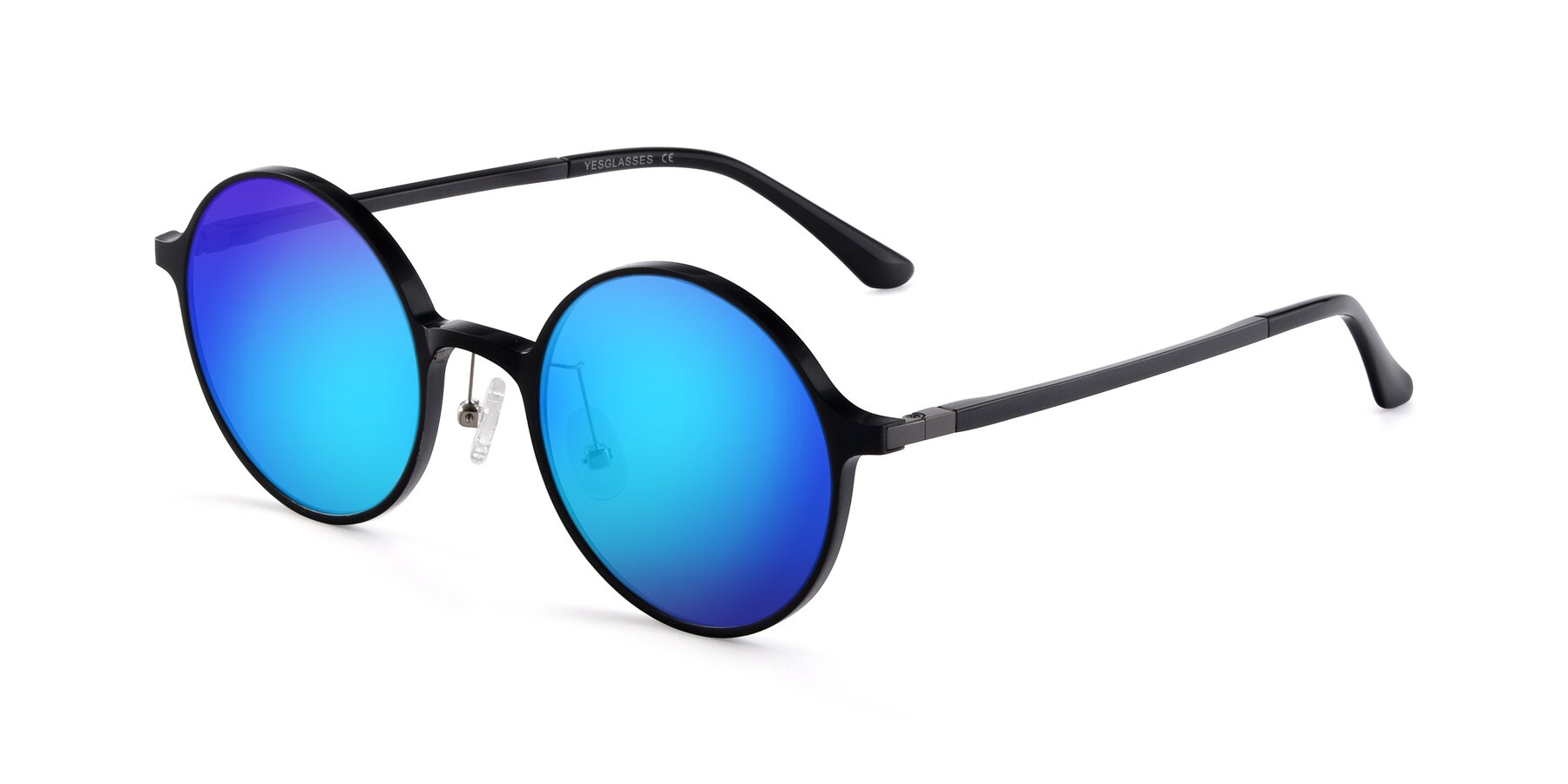 Angle of Lemon in Black with Blue Mirrored Lenses
