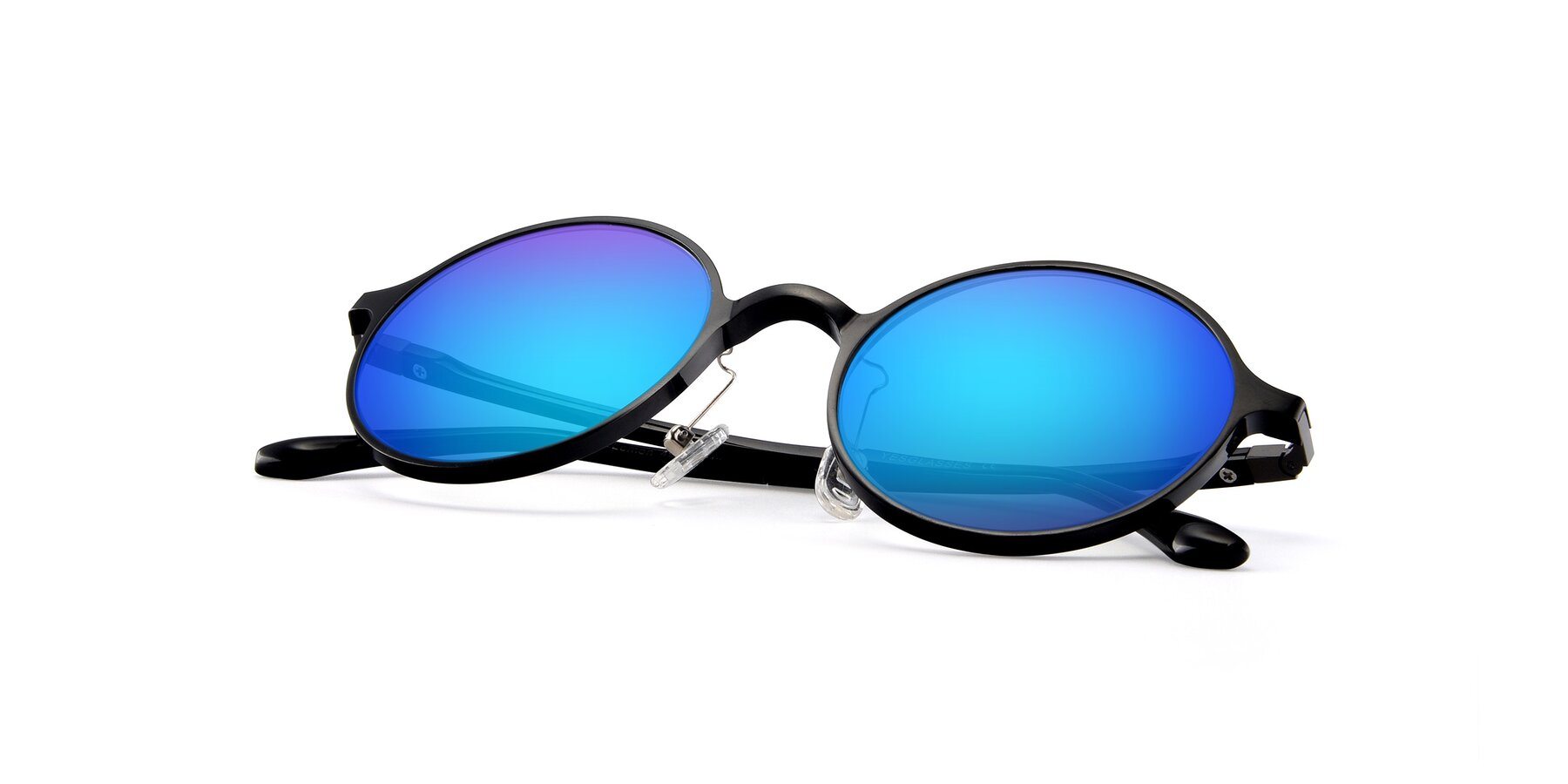 View of Lemon in Black with Blue Mirrored Lenses