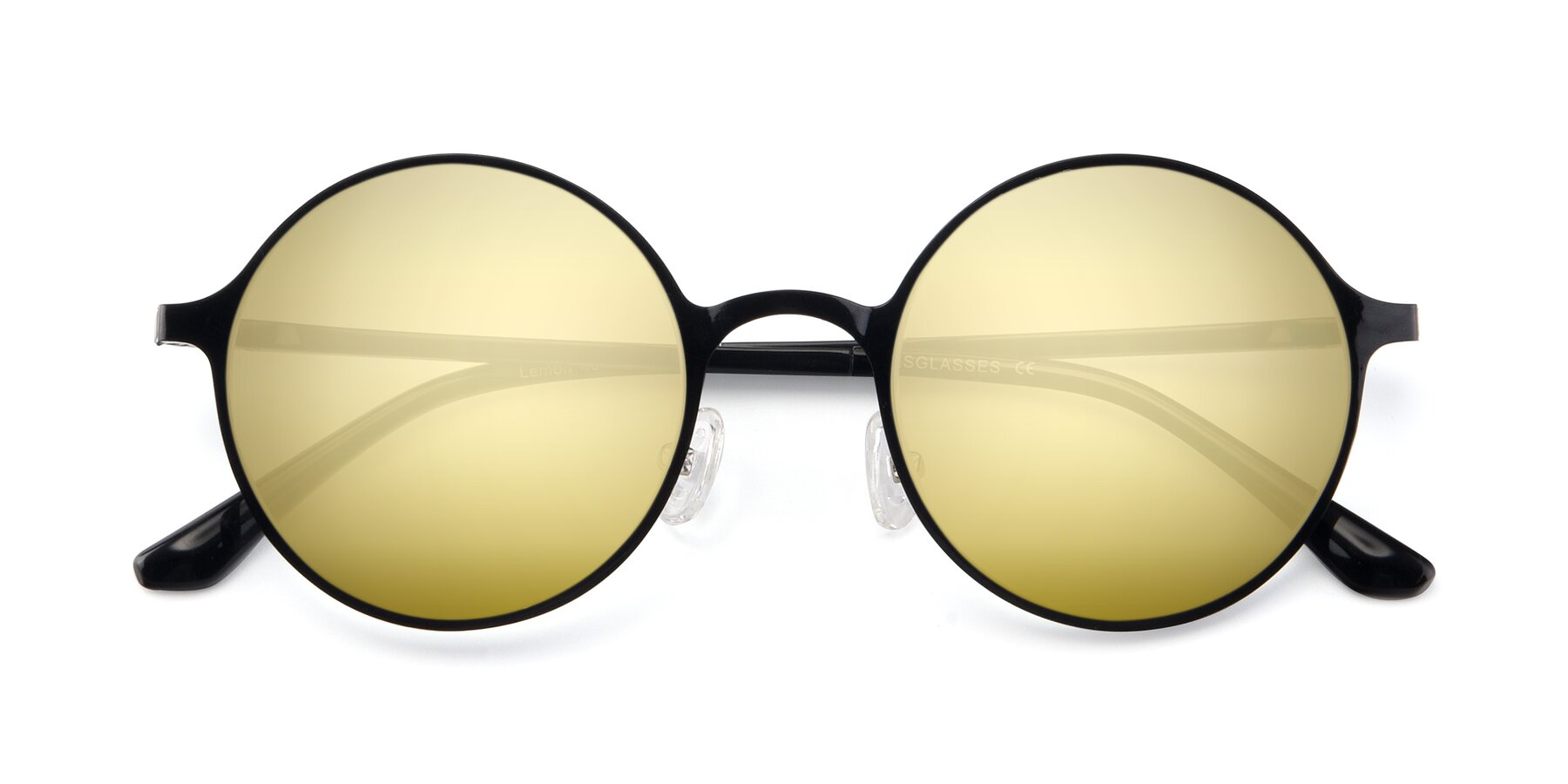 Folded Front of Lemon in Black with Gold Mirrored Lenses
