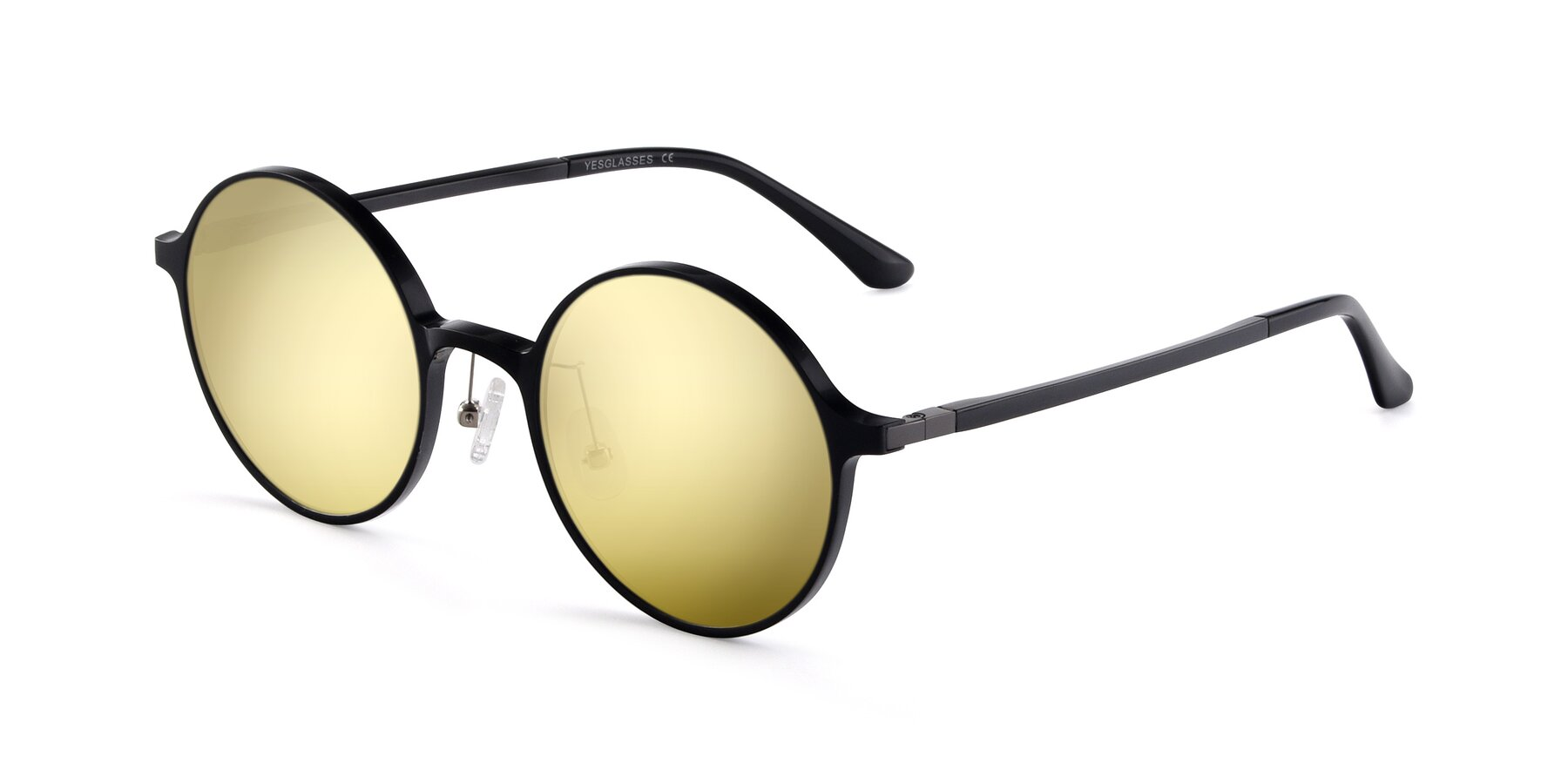 Angle of Lemon in Black with Gold Mirrored Lenses