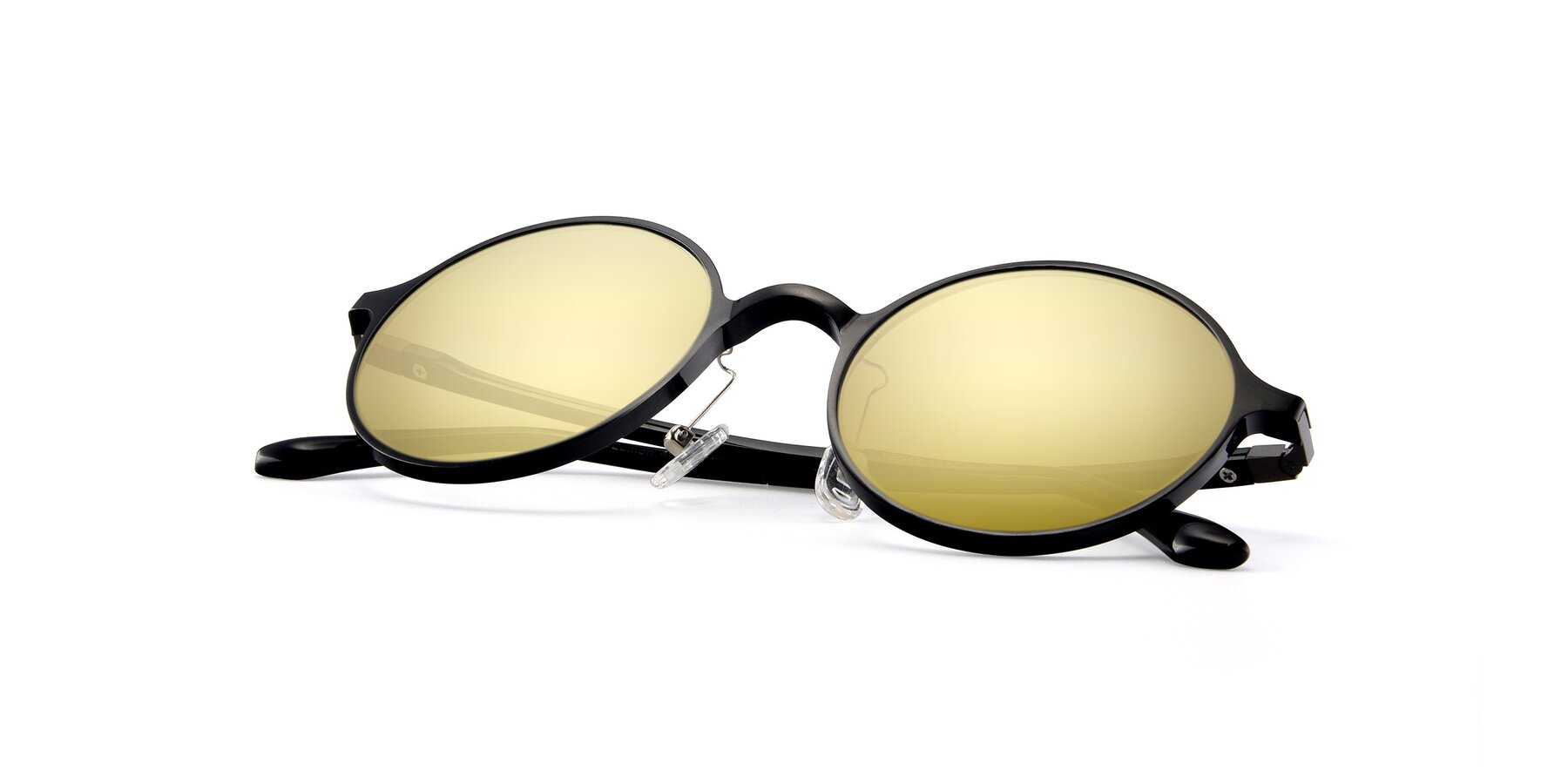 View of Lemon in Black with Gold Mirrored Lenses