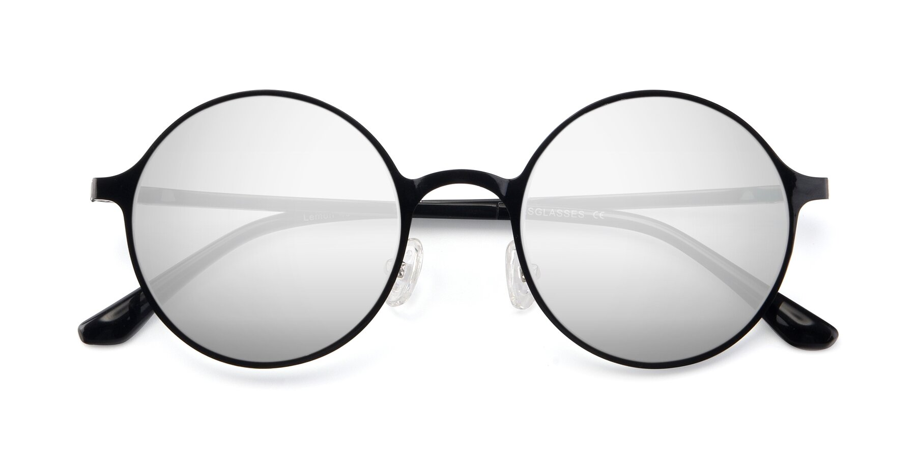 Folded Front of Lemon in Black with Silver Mirrored Lenses