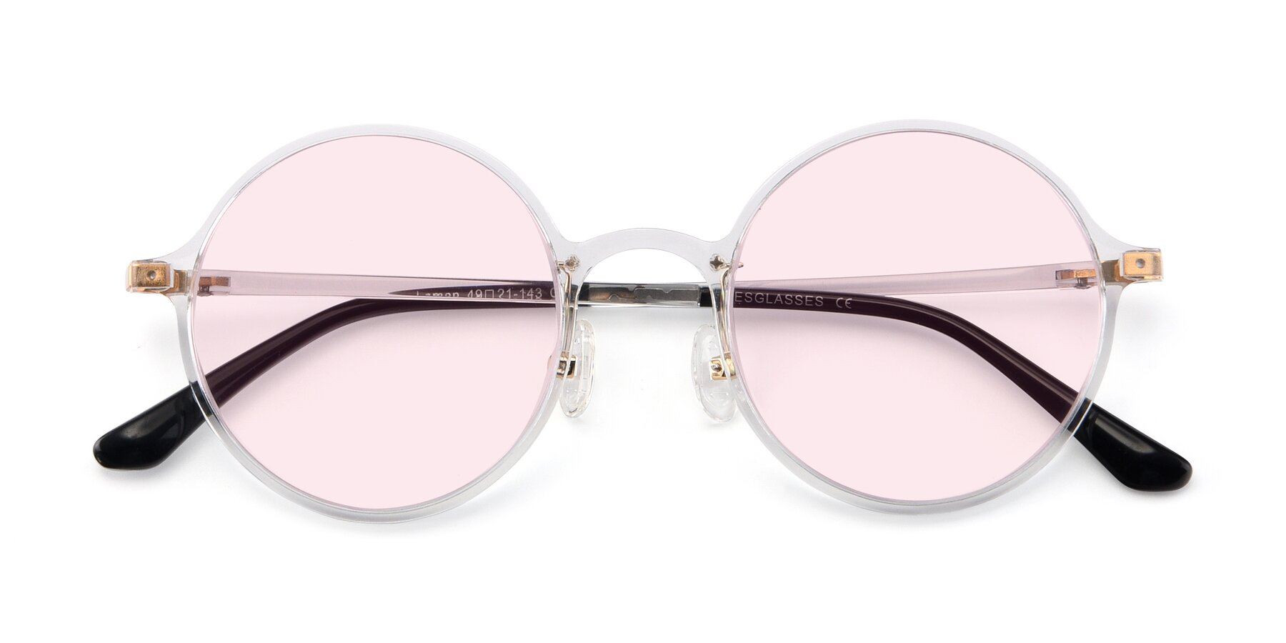 Folded Front of Lemon in Clear with Light Pink Tinted Lenses