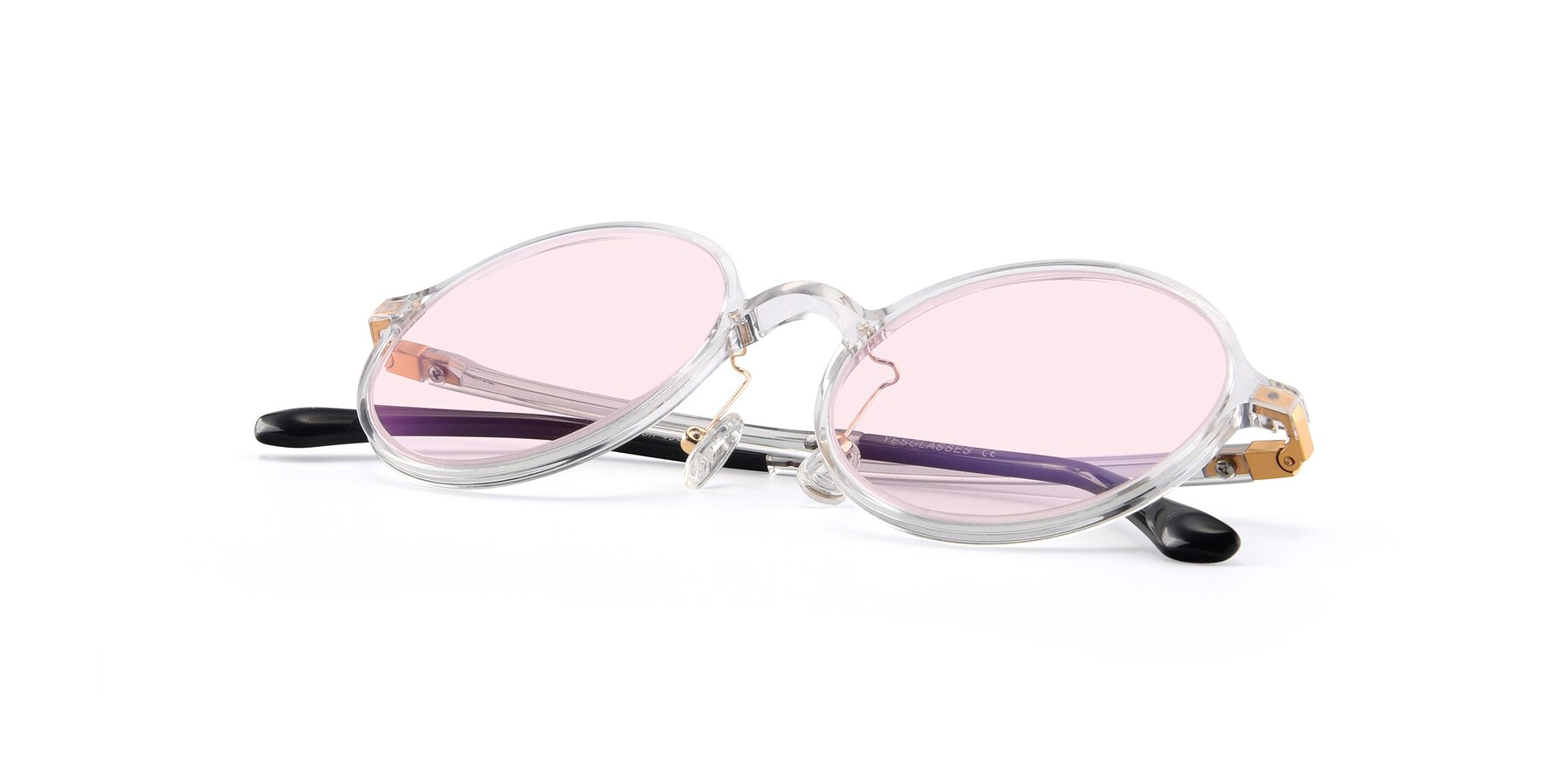 View of Lemon in Clear with Light Pink Tinted Lenses