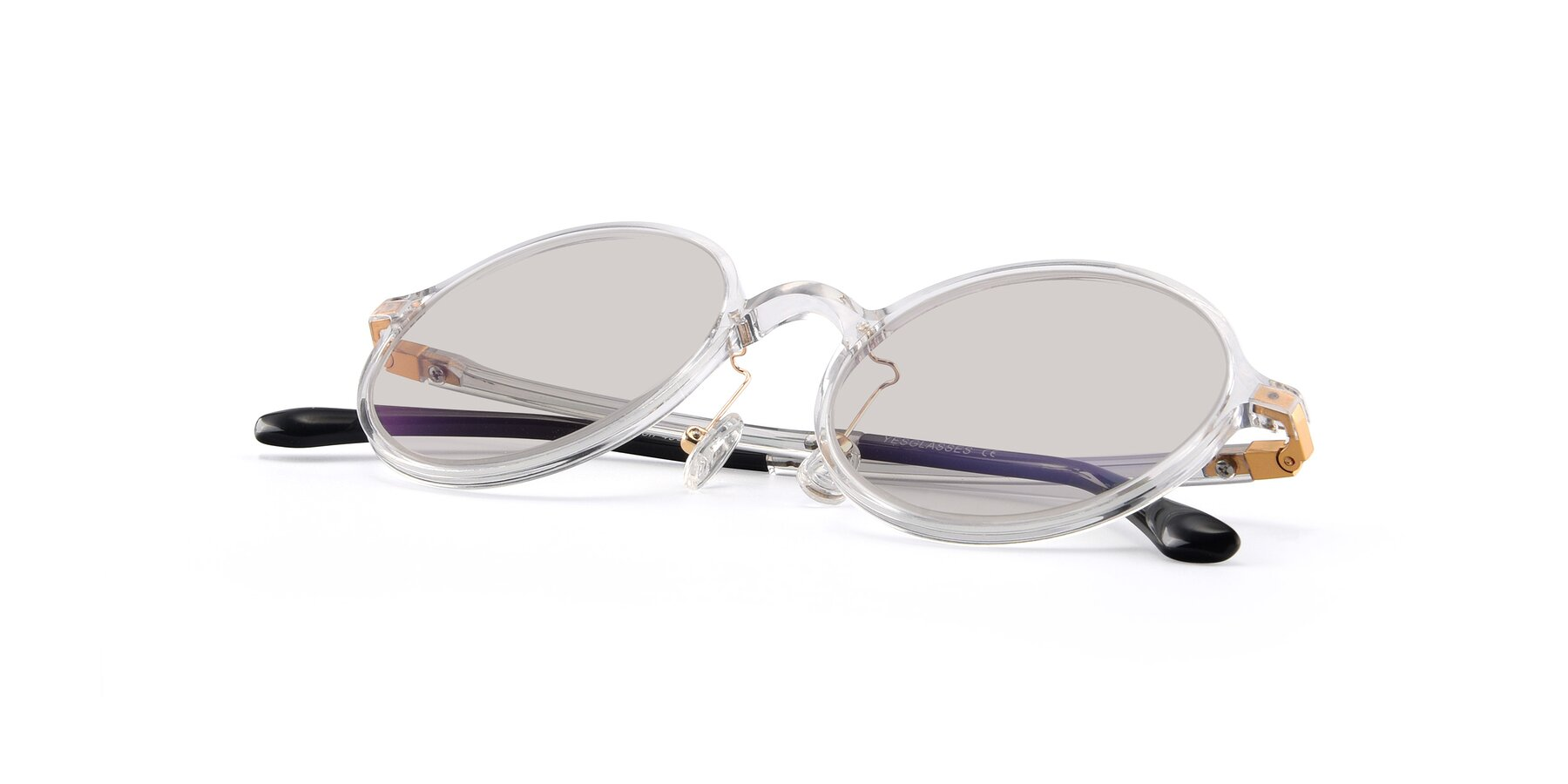 View of Lemon in Clear with Light Brown Tinted Lenses