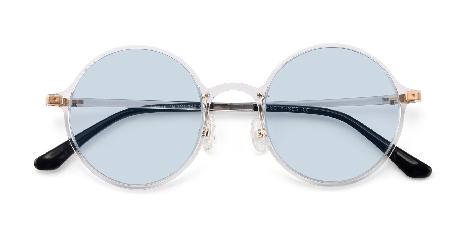 Folded Front of Lemon in Clear with Light Blue Tinted Lenses
