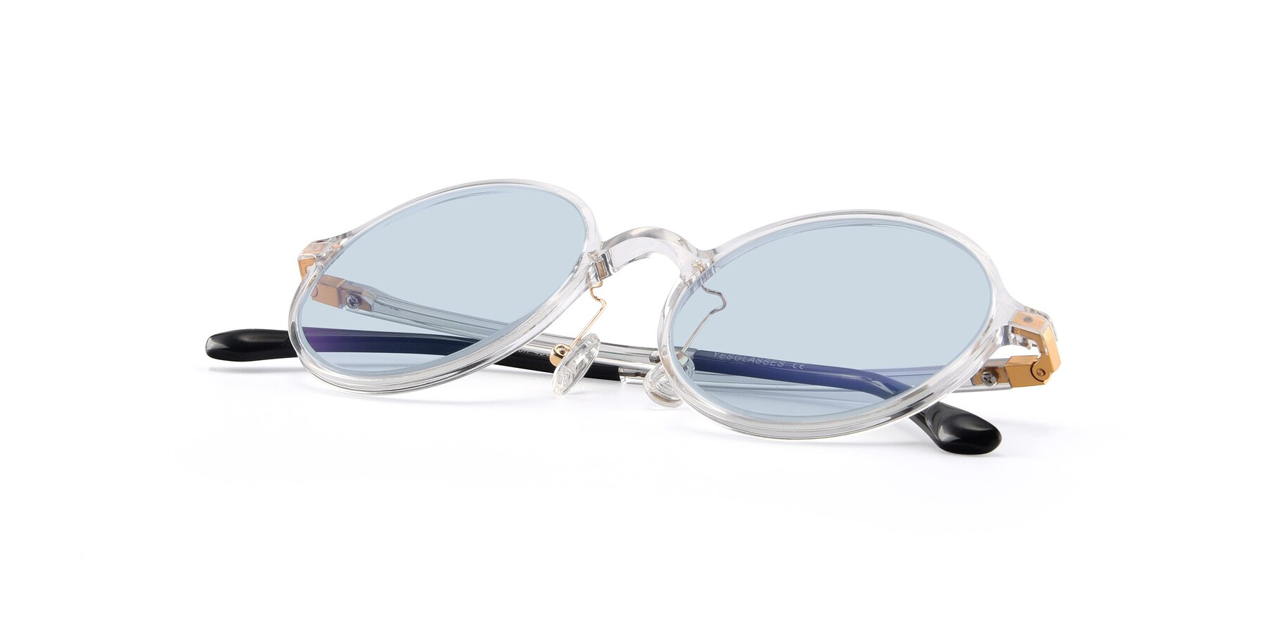 View of Lemon in Clear with Light Blue Tinted Lenses