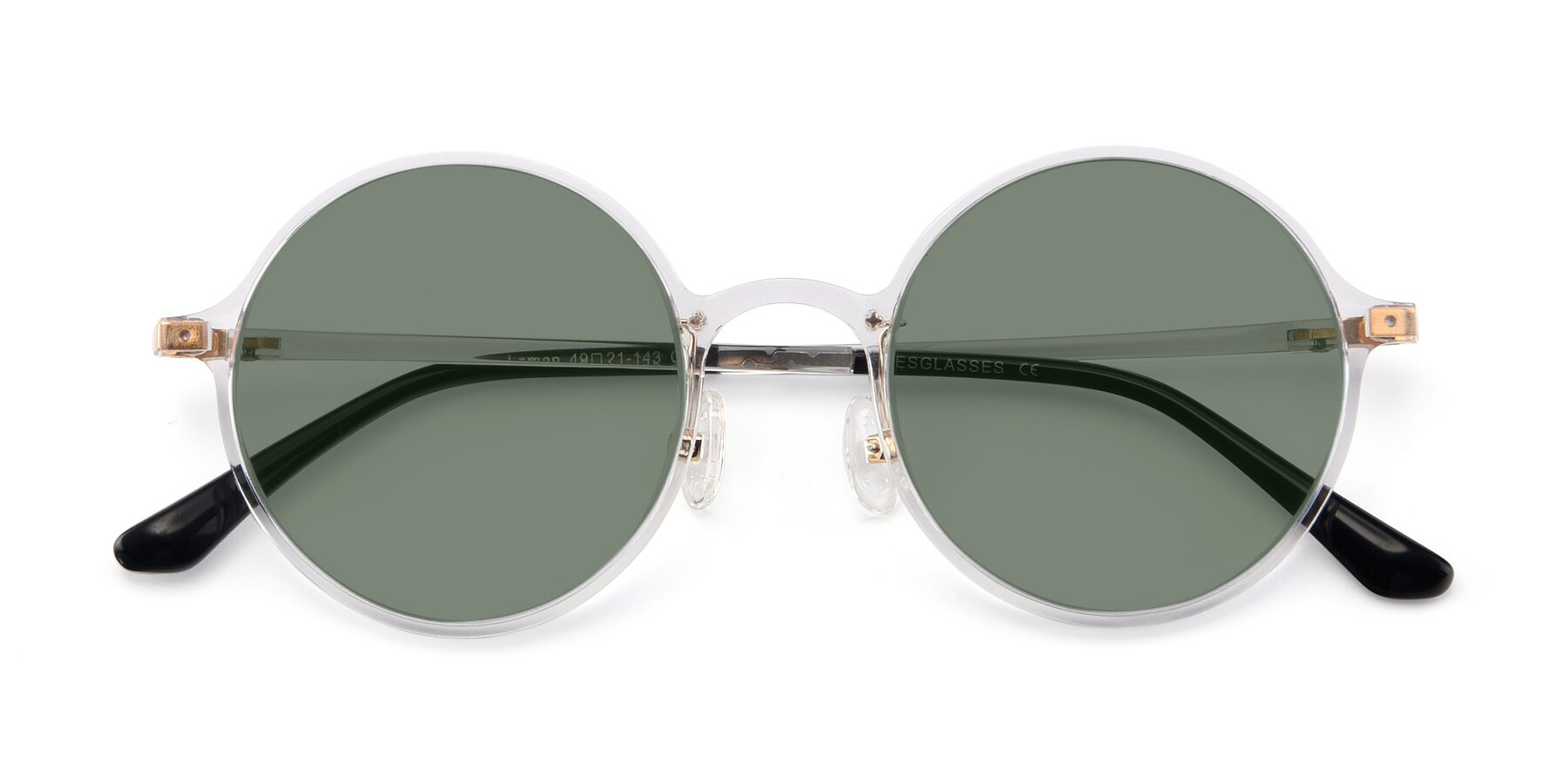 Folded Front of Lemon in Clear with Medium Green Tinted Lenses