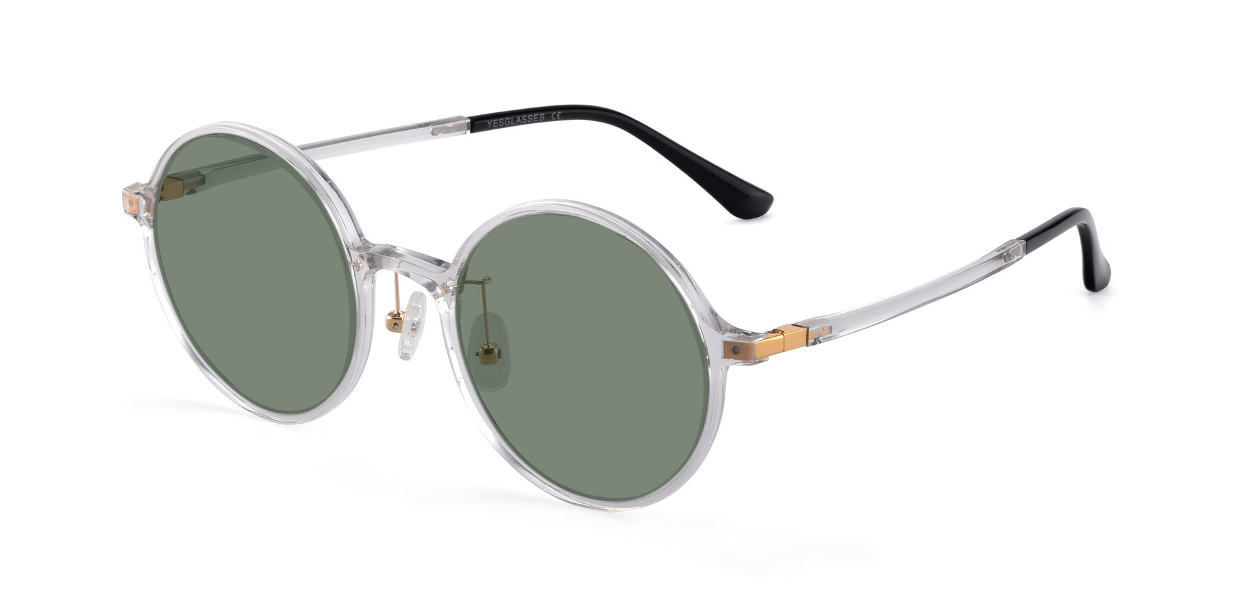Angle of Lemon in Clear with Medium Green Tinted Lenses