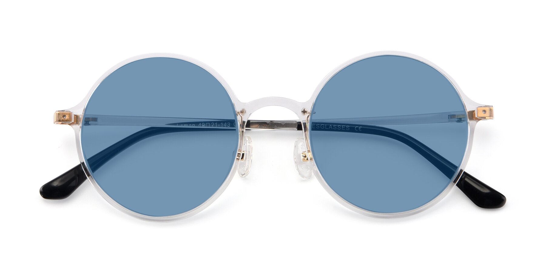 Folded Front of Lemon in Clear with Medium Blue Tinted Lenses