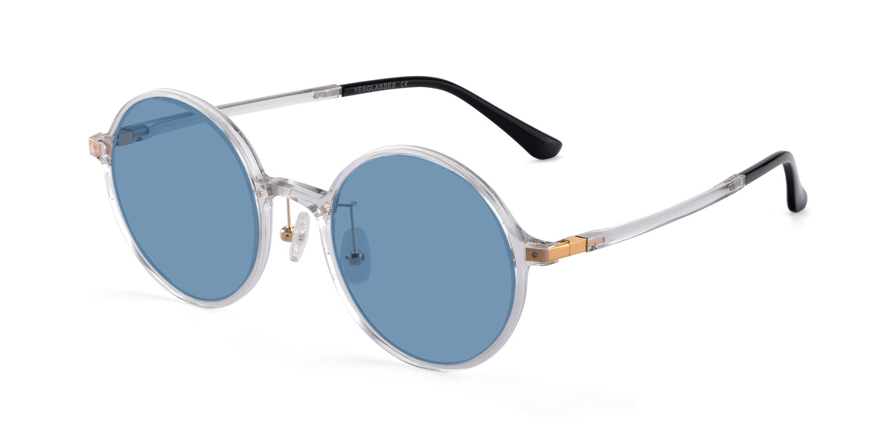 Angle of Lemon in Clear with Medium Blue Tinted Lenses