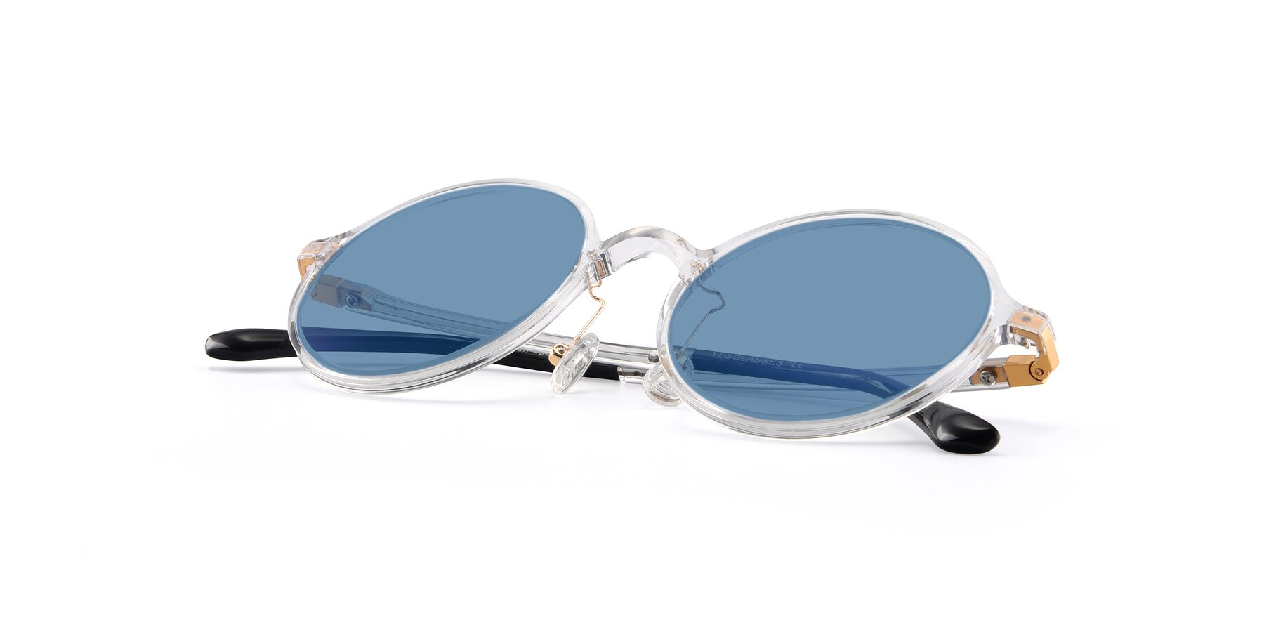 View of Lemon in Clear with Medium Blue Tinted Lenses
