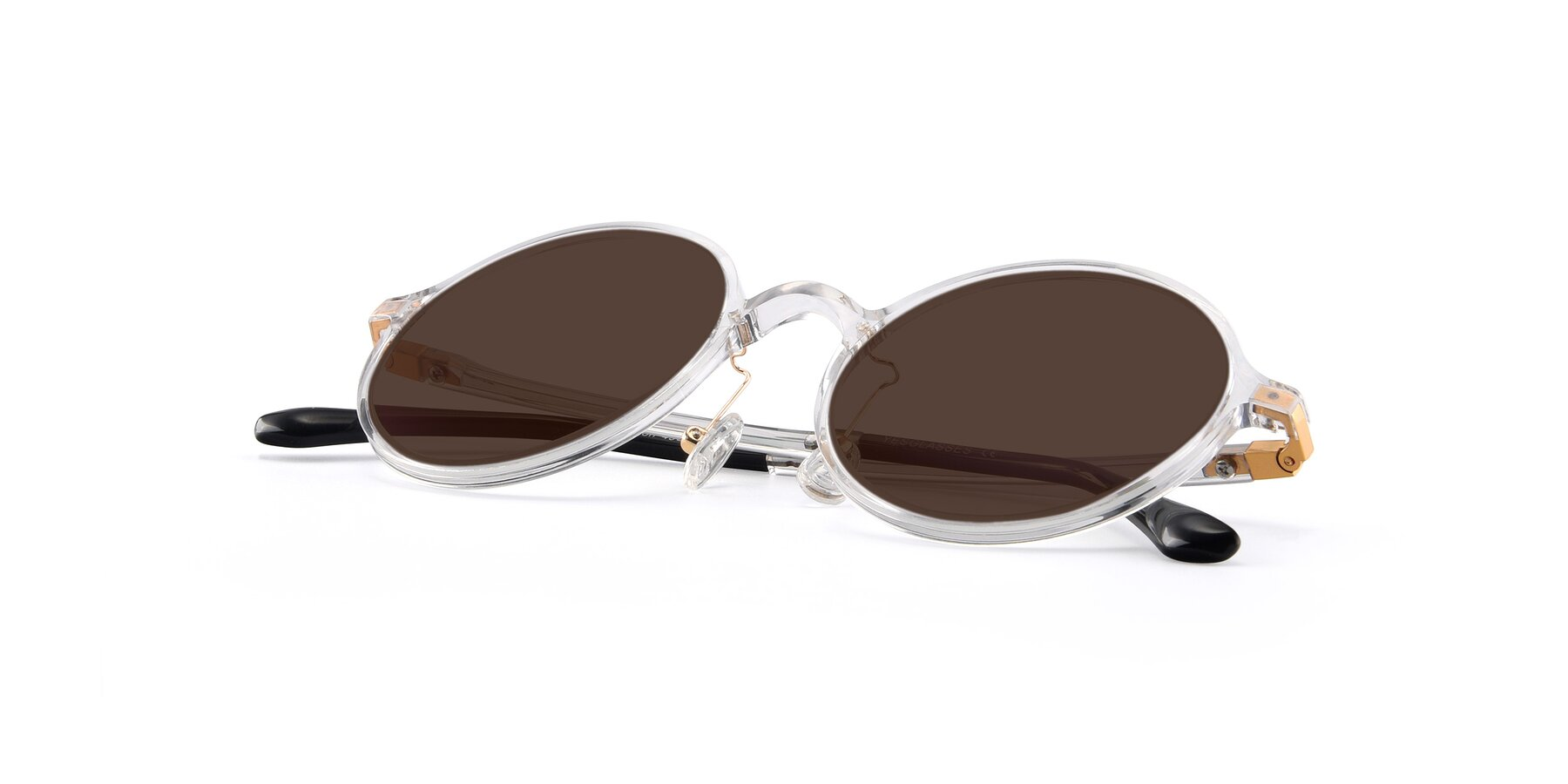 View of Lemon in Clear with Brown Tinted Lenses