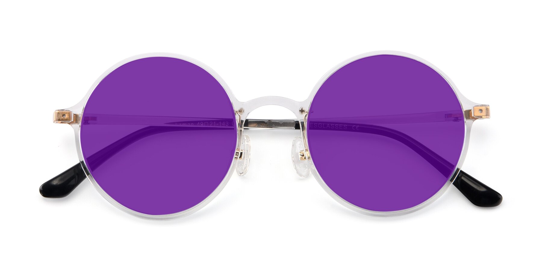 Folded Front of Lemon in Clear with Purple Tinted Lenses