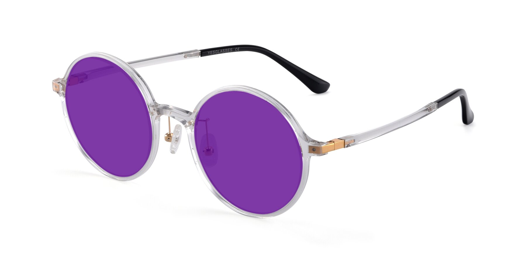 Angle of Lemon in Clear with Purple Tinted Lenses