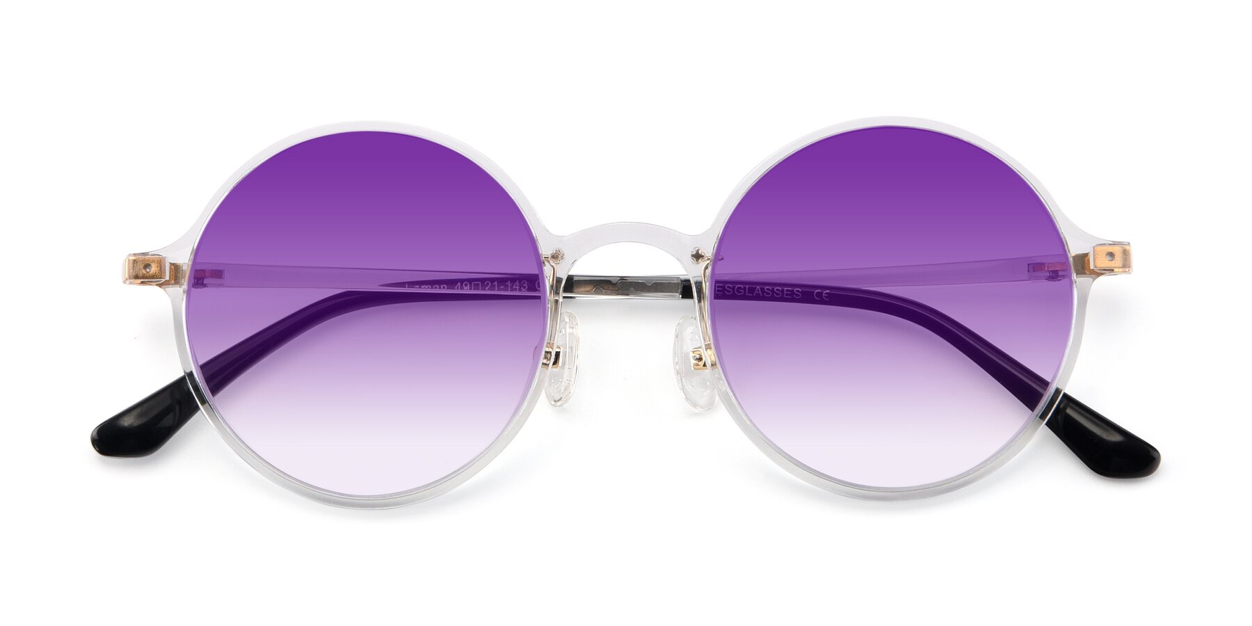 Folded Front of Lemon in Clear with Purple Gradient Lenses