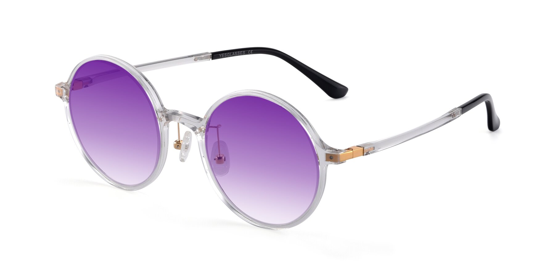 Angle of Lemon in Clear with Purple Gradient Lenses