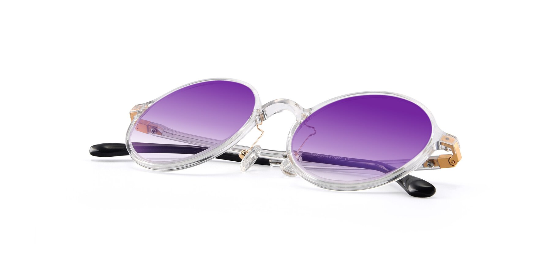 View of Lemon in Clear with Purple Gradient Lenses