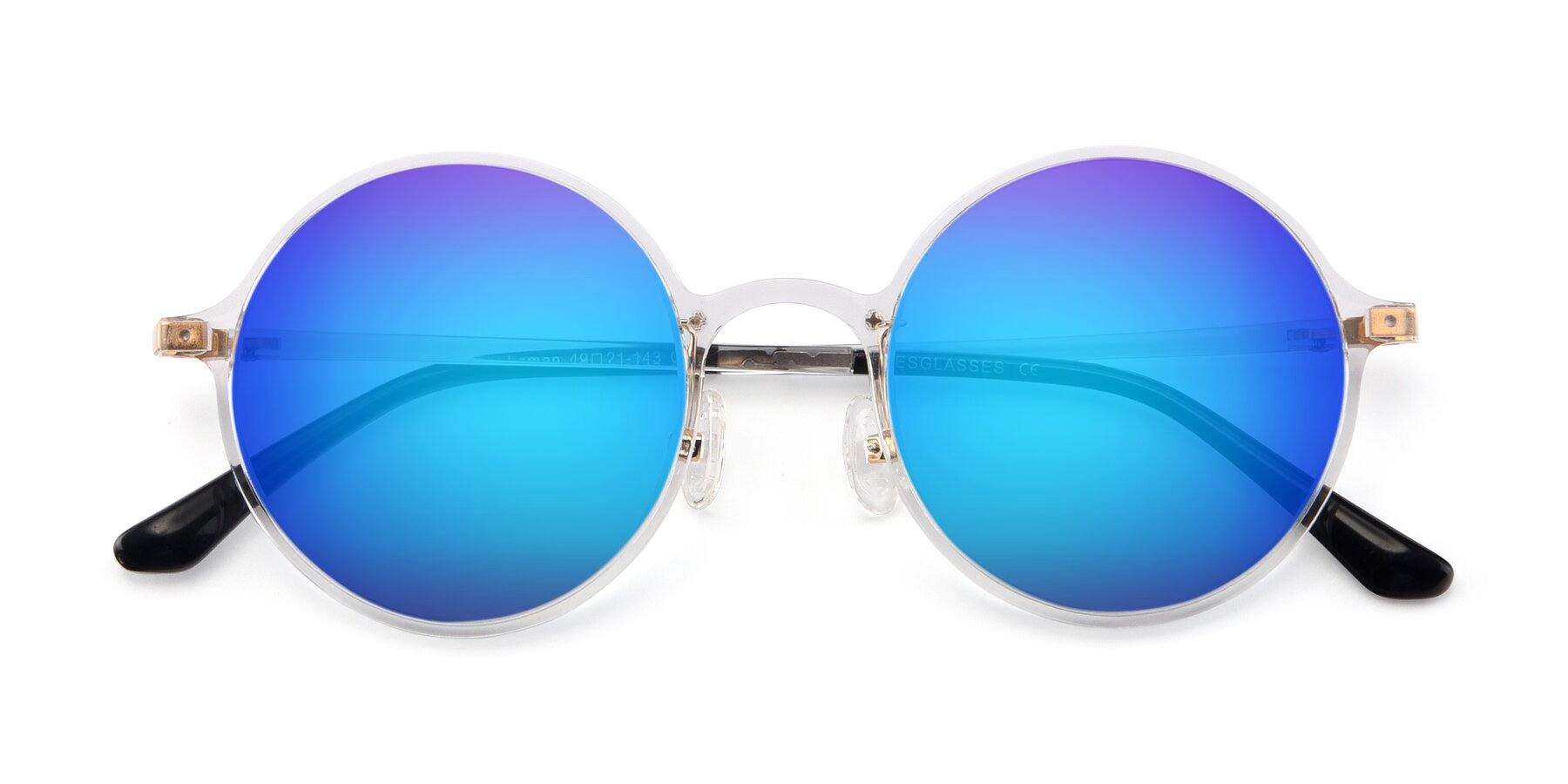 Folded Front of Lemon in Clear with Blue Mirrored Lenses