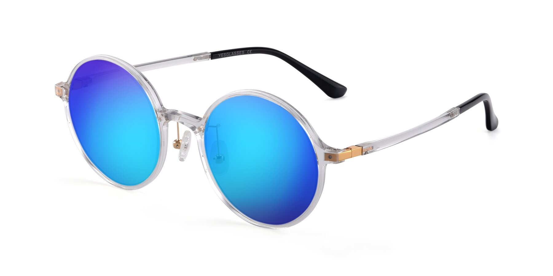 Angle of Lemon in Clear with Blue Mirrored Lenses