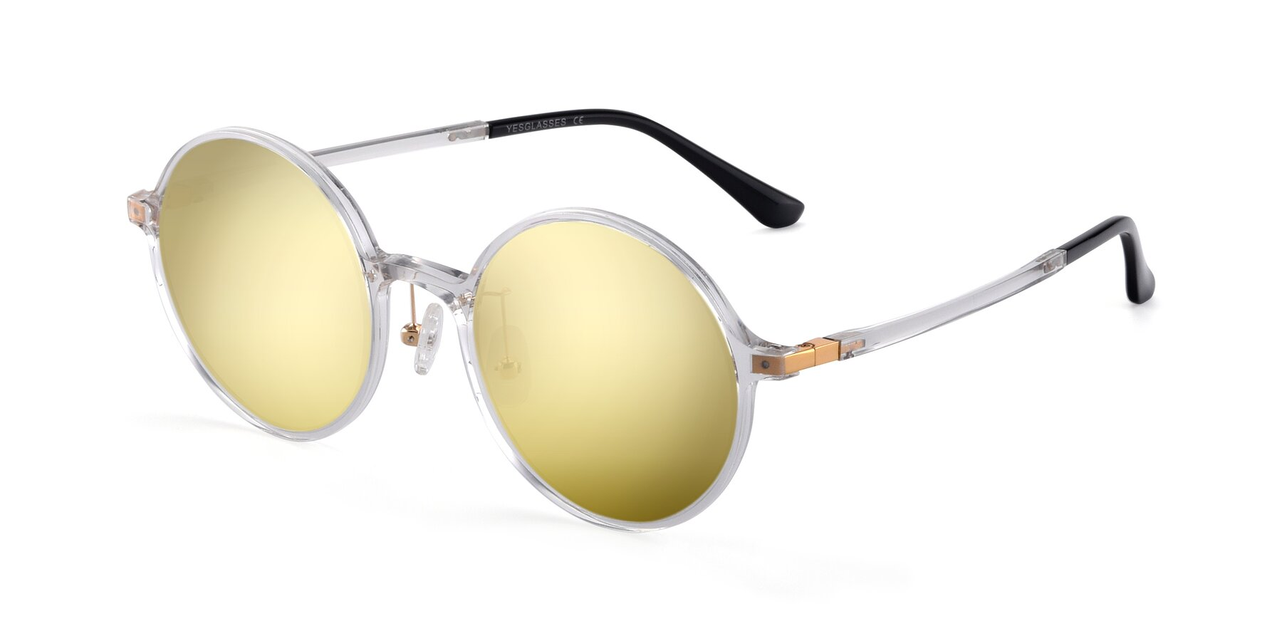 Angle of Lemon in Clear with Gold Mirrored Lenses