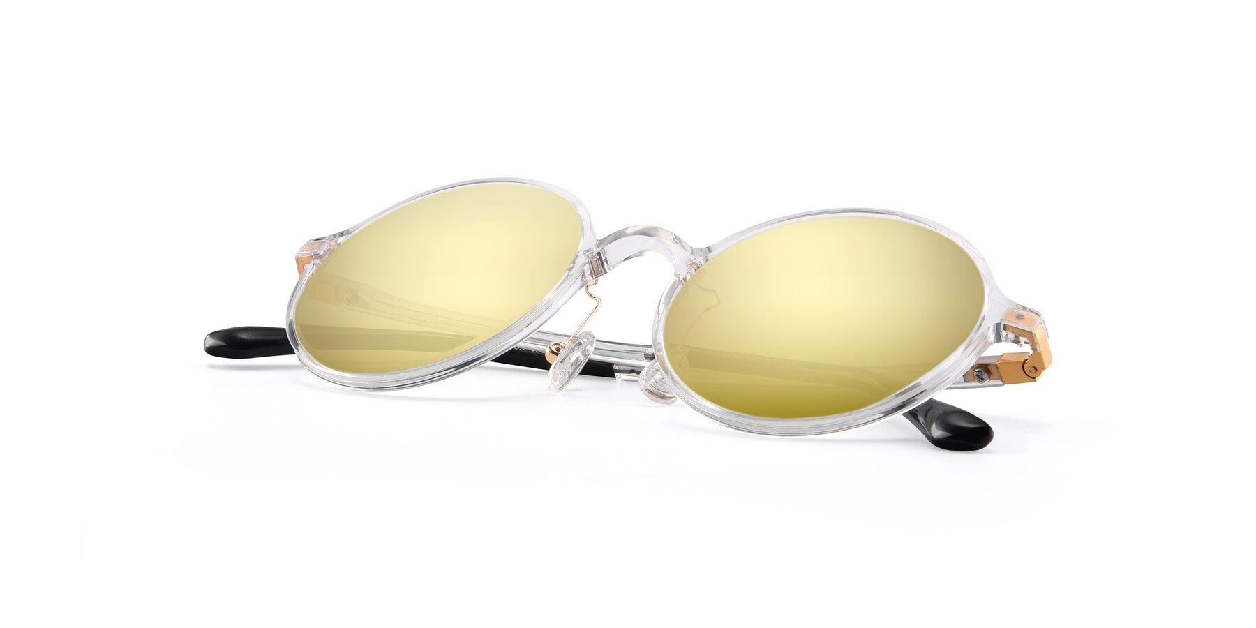 View of Lemon in Clear with Gold Mirrored Lenses