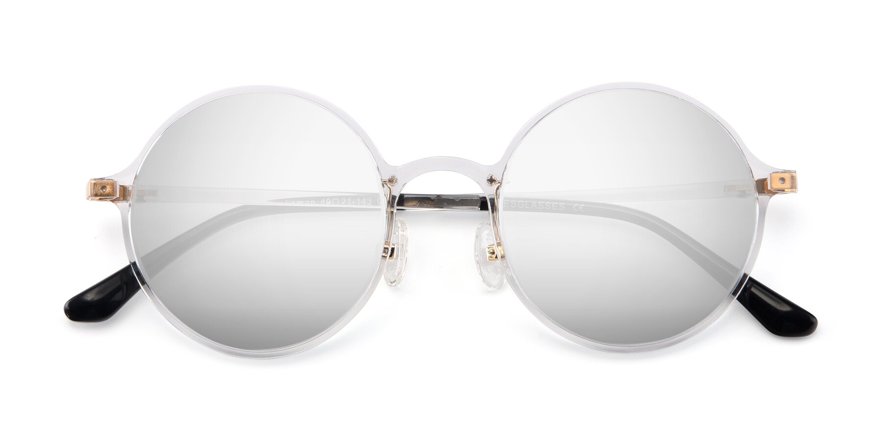 Folded Front of Lemon in Clear with Silver Mirrored Lenses
