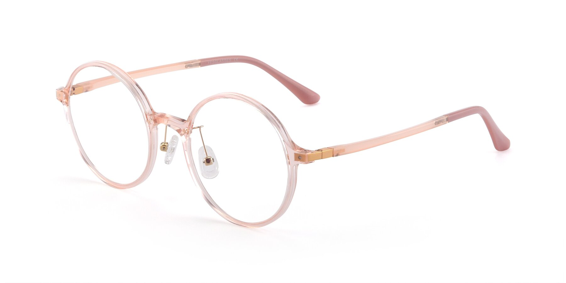Angle of Lemon in Transparent Pink with Clear Blue Light Blocking Lenses