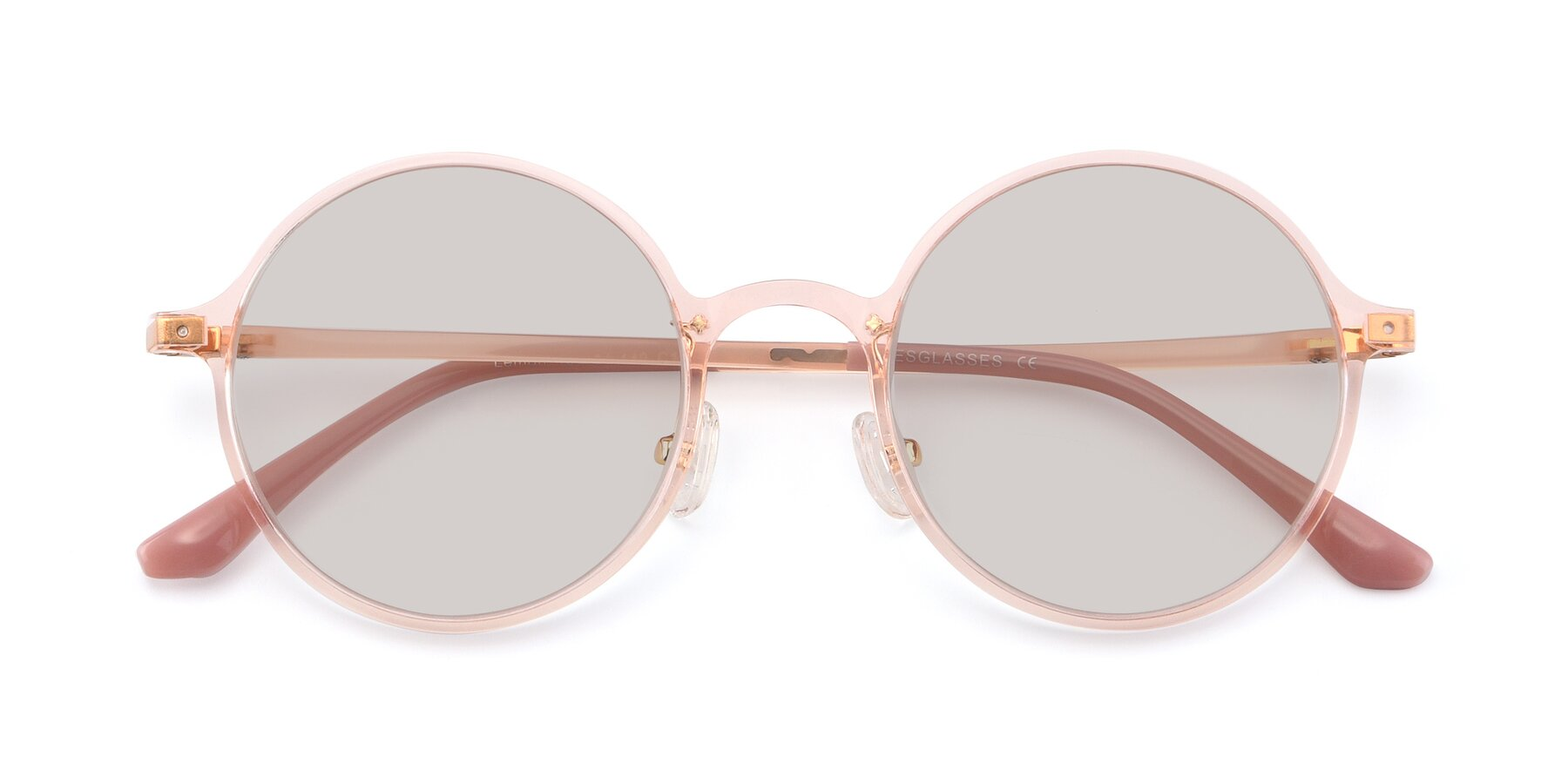 Folded Front of Lemon in Transparent Pink with Light Brown Tinted Lenses