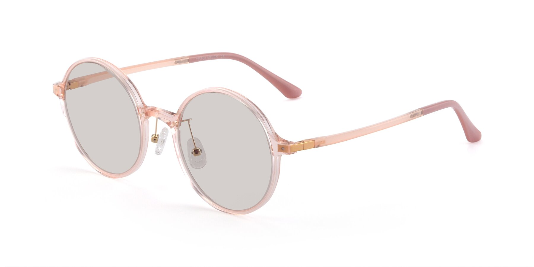 Angle of Lemon in Transparent Pink with Light Brown Tinted Lenses