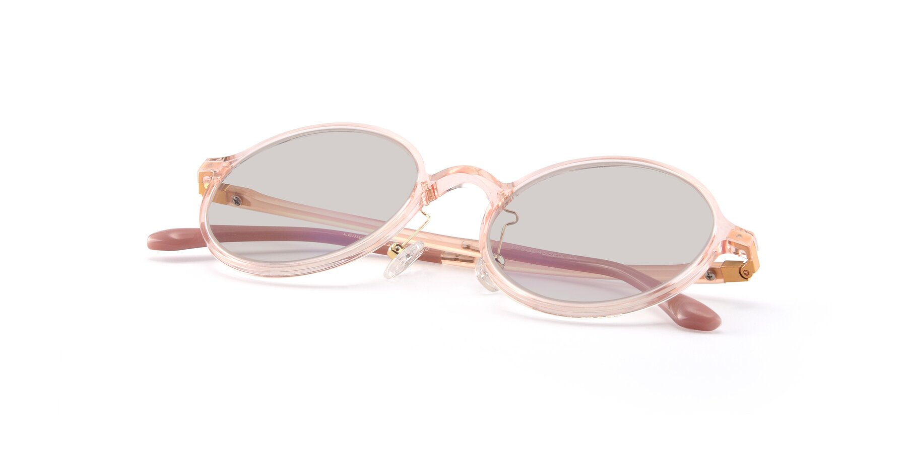 View of Lemon in Transparent Pink with Light Brown Tinted Lenses