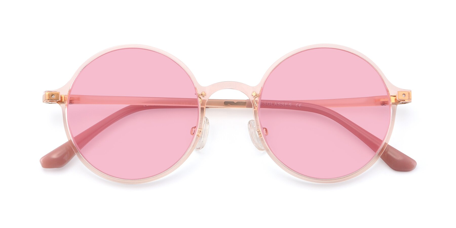 Folded Front of Lemon in Transparent Pink with Medium Pink Tinted Lenses
