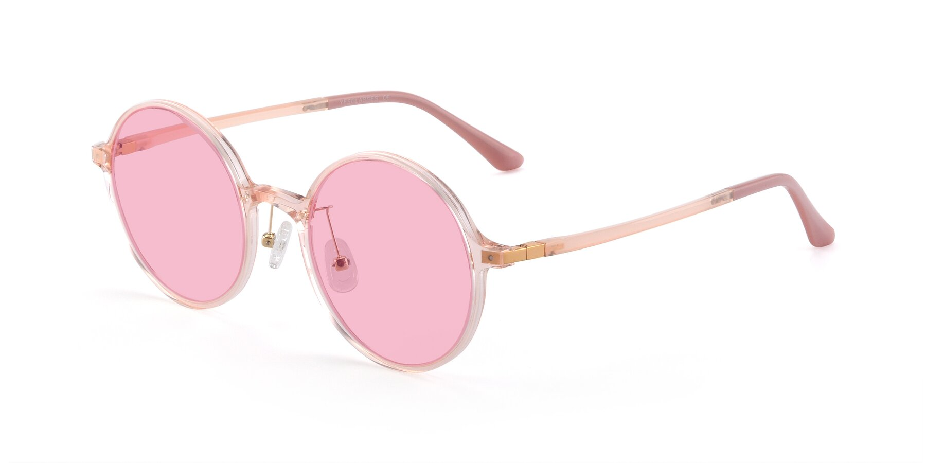 Angle of Lemon in Transparent Pink with Medium Pink Tinted Lenses