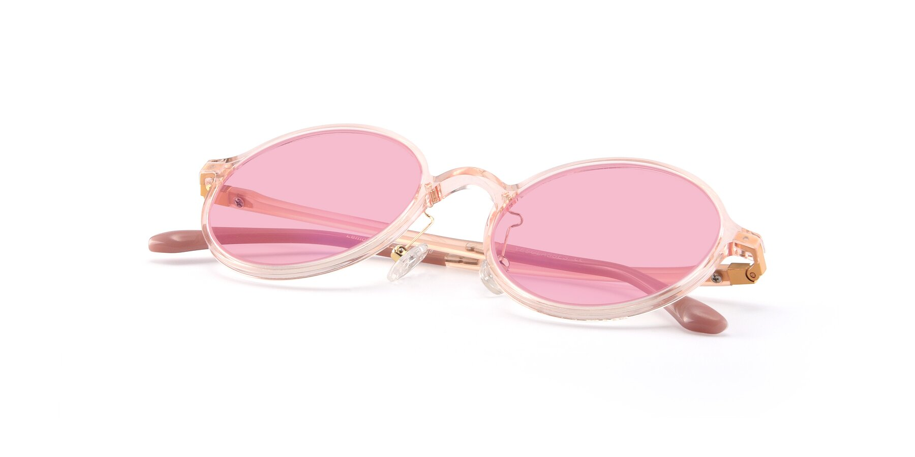 View of Lemon in Transparent Pink with Medium Pink Tinted Lenses
