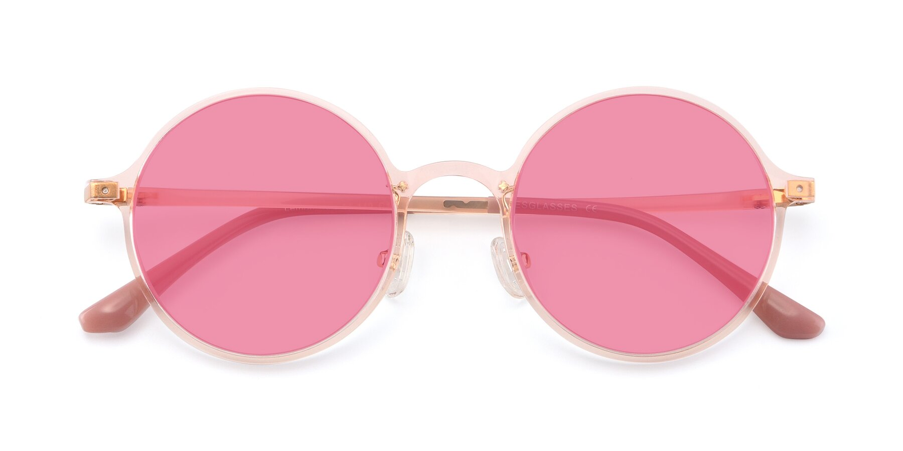 Folded Front of Lemon in Transparent Pink with Pink Tinted Lenses