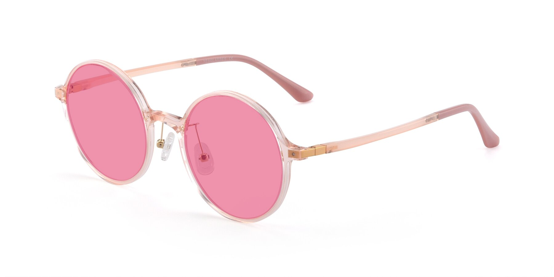 Angle of Lemon in Transparent Pink with Pink Tinted Lenses